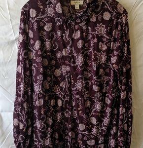 Style & Co.  Plus size purple full button up blous